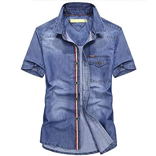MKDLJY Camisetas Camisa Vaquera de Verano para Hombre Camisas de Manga Corta Camisas de Mezclilla de Ocio Tallas Grandes S-4Xl para Hombre Tops