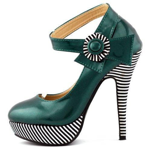 Visualizza Story sexy della caviglia Flower Strap banda stiletto della piattaforma pompa i pattini, LF30404 Verde scuro