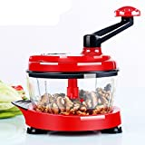 Pinkdose Red: Multifunction Food Processor Kitchen Manual Food Vegetables Chopper Cutter Mixer Salad Maker Eggs Stirrer Kitchen Cooking Tools