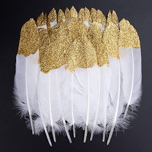 , 40 Stück Gold getauchtes natürliches Weiß Gänsefedern, ideal als Dekoration zum Karnival für Halloween Fest Masken, Kostüme und Basteln für Kinder, Sicher und Ungiftig (Gold) ()