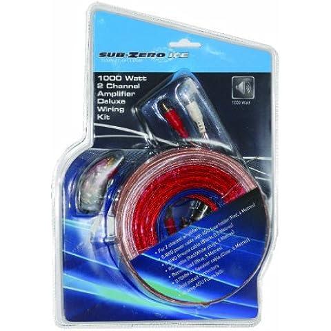 Sub-Zero Ice - Kit deluxe di cavi amplificatori a 2 canali, 1000 W
