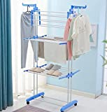 #3: Parasnath Prime Offer 2 Poll Hi-Quality Three Layer Clothes Rack Hanger with Wheels for Drying Clothes (Lifetime Warranty*MADE IN INDIA)