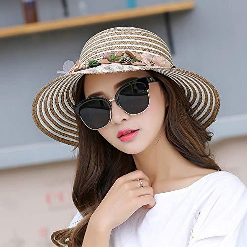 WGYXM Hut, Faltbarer Sonnenschutzhut der Männer und der Frauen, Sommerküstenferiensonnenschutz-Strandhut - braunes_M