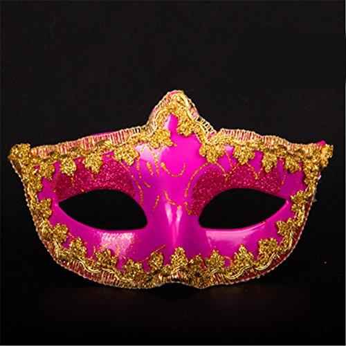 -up Tanz Show Plating Scharfe Ecken Gehäuse Gemalte Masken,Rose Red (Red Skull Halloween-make-up)