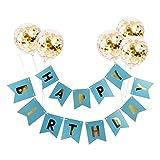 Hihey Happy Birthday Balloons Banner Set di Decorazioni, Palloncini gonfiabili di Compleanno Buon Compleanno Banner Decorazioni per Feste Palloncini coriandoli Oro 12 Pollici