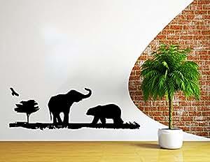 Safari Africain Stickers Muraux Arbre Animaux Girafe Éléphant Jungle Safari Afrique enfants Chambre d'enfant Salle de Bain en vinyle Sticker mural décoration murales Sticker mural