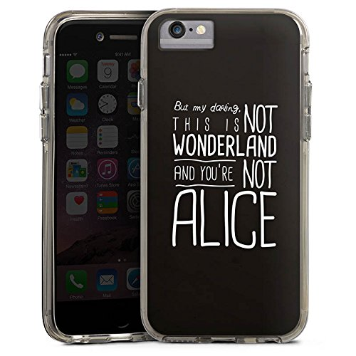 Apple iPhone X Bumper Hülle Bumper Case Glitzer Hülle Wonderland Alice Sprüche Bumper Case transparent grau