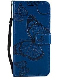 DENDICO Huawei P20 Hülle, PU Leder Handyhülle mit Standfunktion und Kartenfach, Schmetterling Muster Magnetverschluss Flip Brieftasche Etui TPU Schutzhülle für Huawei P20 - Bleu