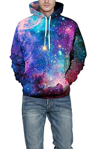 ECOTISH Galaxy Hoodie Hommes Coloré HD 3D Imprimé Pullove Unisexe Harajuku à Manches Longues Sweatshirt Hoodie à Capuche 01