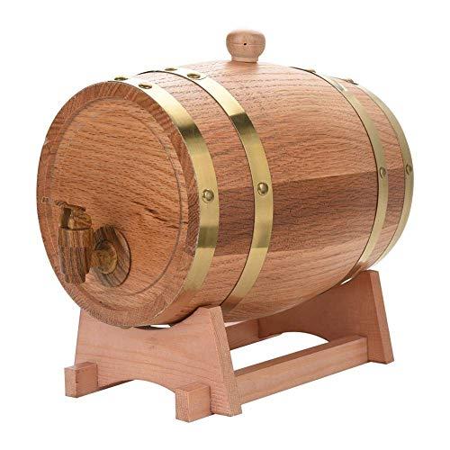AMCER Madera Roble Madera Barril de Vino, dispensador de Barril Personalizado para Whisky Bourbon Tequila, envejecer su Propia Cerveza Vino Salsa Caliente y más 3L