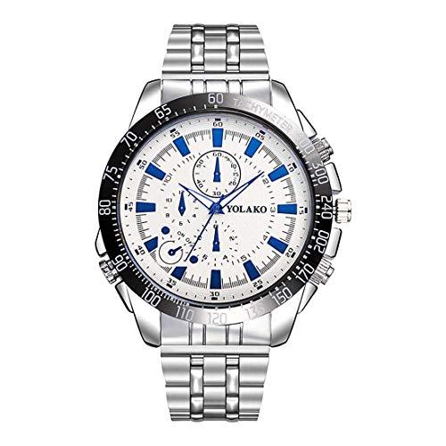 Souarts Herren Analog Quarz Armbanduhr mit 3 Augen Design Zifferblatt und Edelstahl Armband Uhr