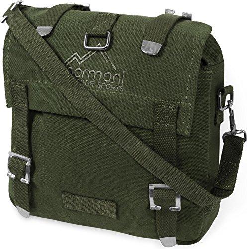 Canvas Leder Gepäck (normani Motorrad Bike Satteltasche aus strapazierfähigem Canvas für Werkzeug oder Gepäck Farbe Oliv)