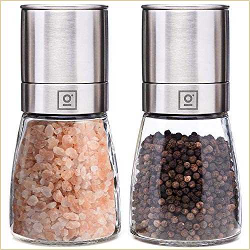 Garcon Salz und Pfeffer Mühle mit Keramikmahlwerk - Salzmühle und Pfeffermühle aus Glas & Edelstahl - Salt and Pepper Grinder Gewürzmühle - Mühlen