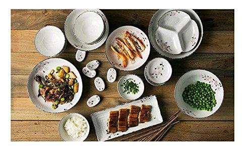 Set de vaisselle domestique japonais / 6 bol à riz / bol à riz / assiette / bol en céramique / assiette / baguettes / cuillère / assiette