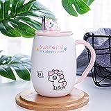 ABYED Unicorno Carino Tazza di Ceramica con Coperchio e Cucchiaio Tazza di marcatore Tazza di caffè e Latte per Il Regalo della Ragazza Ufficio e casa