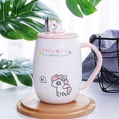 Idea Regalo - ABYED Unicorno Carino Tazza di Ceramica con Coperchio e Cucchiaio Tazza di marcatore Tazza di caffè e Latte per Il Regalo della Ragazza Ufficio e casa