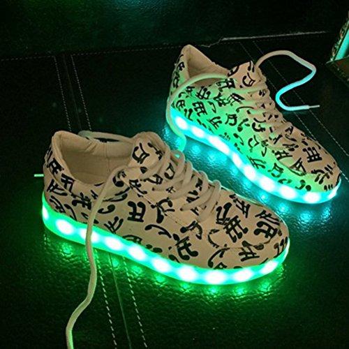 [Present:kleines Handtuch]JUNGLEST® Unisex Erwachsene 7 Farben LED leuchtende Mode Sportschuhe Party S Weiß