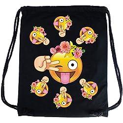 PREMYO Bolsa de cuerdas negra 100% algodón con Emoji Smiley Lengua Flores. Mochila con cuerdas con impresión Emoticon en color de alta calidad. Gymsac con cordón. Saco de gimnasio ideal para viajar