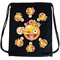 PREMYO Cotton Drawstring Bag with Smiley Face Stuck Out Tongue. High Quality Emoji Print Drawstring Backpack in Black. Custom Printed Canvas Gym Bag. On The Go Sackpack Rucksack for Sports Festivals