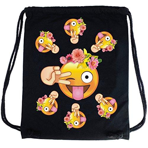 Imagen de premyo bolsa de cuerdas negra 100% algodón con emoji smiley lengua flores.  con cuerdas con impresión emoticon en color de alta calidad. gymsac con cordón. saco de gimnasio ideal para viajar