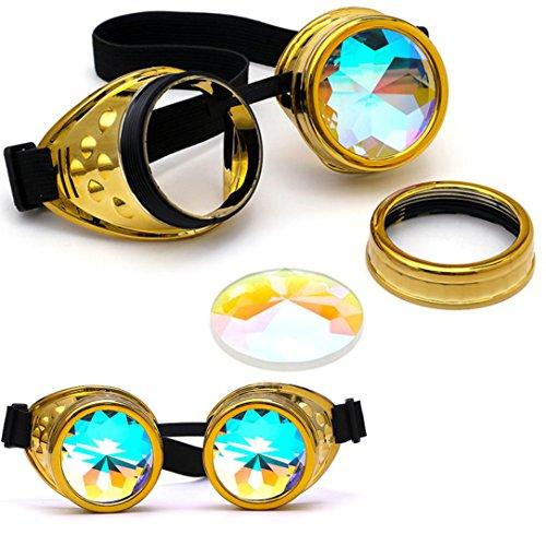 Sonnenbrillen,Binggong Kaleidoskop bunte Gläser Rave Festival Party EDM Sonnenbrille Beugungslinse Sonnenbrille Mehrfarbig Gold Rund Verspiegelt Retro Unisex (17*6CM, Gold) (Glas-kaleidoskop)