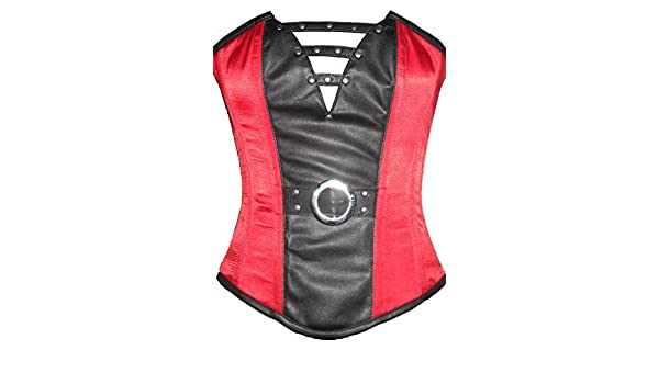 52903e6839 Red Black Satin Leather Gothic Steampunk Waist Training Overbust Corset  Costume  Amazon.co.uk  Clothing