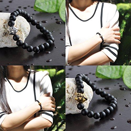 Infinite U pour homme femme bracelet Bouddha 9mm Perles poignet Mala bracelet Stretch énergie en alliage, argent/or rose Warrior Casque style 2 Pcs(Gold+Silver)
