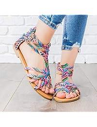 35d5f667362 Voiks Bohemian Sandals Low Summer Gladiator Roman Colorful Beach Shoes 36-42