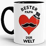 Spruch-Tasse Bester Papa der der Bester Papa der Welt Innen & Henkel Schwarz/Ostern/Tasse mit Spruch/Witzig/Lustig/Mug/Cup/Beste Qualität - 25 Jahre Erfahrung