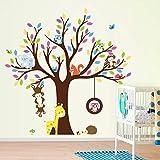 Mddjj Tier Baum Wandaufkleber AFFE Giraffe Eule Eichhörnchen Decals Tier Zoo Tapeten Für Kinder Zimmer Dekoration Kinder Mädchen Geschenke