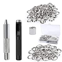BUYGOO 153PCS Eyelet Grommet Kit for Tarpaulin, Fabric, Curtains and Bags etc, Tarpaulin Repair Kit with 150pcs Metal Grommet Eyelets Kit 12mm and Punch Hole Tool and Fastened Tool(with a Plastic Box)