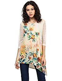 706a838974f8 109 F Women Polyester Flower Printed Self Design Tunic Ivory
