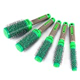Hair Curling Brush Comb, 5Pcs/Set Professional Hairdressing Nylon Bristle Comb Curler Barrel