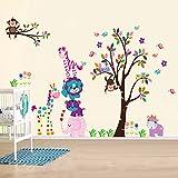 AY Wand Sticker Aufkleber Papier Kunst Dekoration Fröhliche Tiere Baum Kinderzimmer Deko