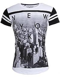 Young & Rich Party Herren T-Shirt New York Kurzarm Rundhals weiß, Grösse: L