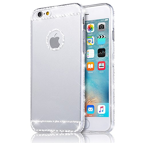 Sunroyal® iphone 6 plus 6S plus Cover, Bling Strass Transparent Custodia [Antiuroto] [Anti-Scratch] Ultra Slim Bumper Soft Morbido TPU Gel Silicone Protettiva Case Glitter Diamante Coperture Shell per Apple iphone 6 plus 6S plus 5.5