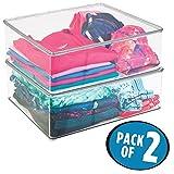 mDesign 2er-Set Wäschebox – 12,7 cm hohe Kleiderkiste mit Deckel für den Kleiderschrank – Stapelboxen für Bekleidung und Co. – durchsichtig