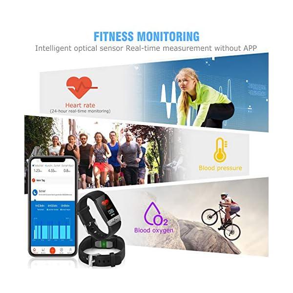 obqo Reloj Inteligente Pulsera Actividad Fitness Tracker con Pulsómetro,Monitor de Sueño de Presión Arterial,Podómetro,Contadores de Calorías IP67 Pulsera Deporte para Mujeres Hombres Android iOS 4
