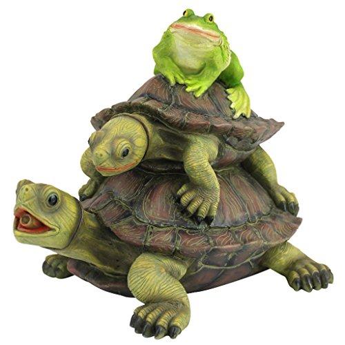Design Toscano QM2854700 Wasserspeierfigur Laufende Schildkröte und Frosch, Resin, Mehrfarbig, 19 x 26.5 x 20.5 cm