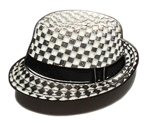 Chequerboard SKA 2 Tone Black & White Hat Metal Enamel Badge