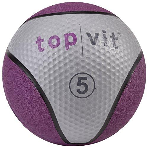 top   vit Medizinball - Fitnessball mit Gummioberfläche   Medizinbälle in Studio Qualität   5kg, lila -