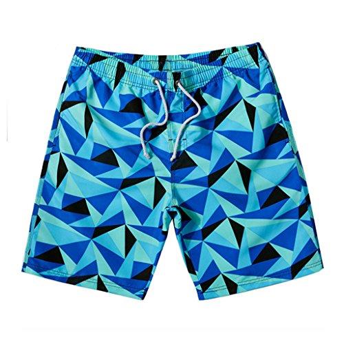 GWELL Herren Geometrie Schnelltrocknend Badeshorts Beachshorts Badehose Sommer Strand Blau