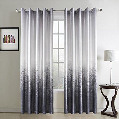 GWELL Elegant Luxus Baumblatt Druck Vorhang Blickdicht Schal mit Ösen TOP QUALITÄT Gardine für Wohnzimmer Schlafzimmer silber 1er-Pack