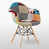 P&N Homewares Fauteuil de Mode Patchwork Eiffel | matériel | thème rétro | Salon - Salle à Manger - Chaise de Bureau 1