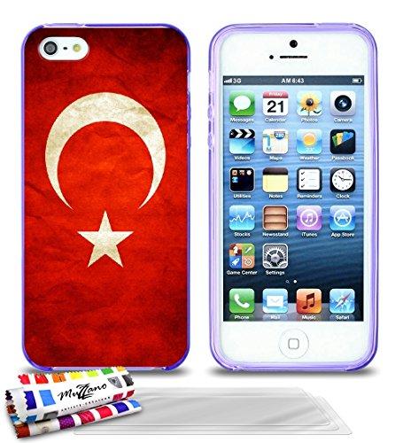 'Geschmeidiger Rückseitenschutz schmal Apple iPhone 5S/iPhone sich dünn, Motiv Exklusives [Flagge Türkei] von MUZZANO + 3Schutzfolien Set
