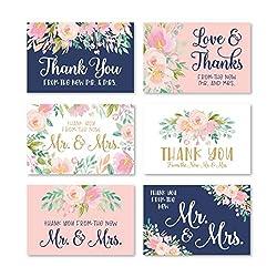 Dankeskarten mit Umschlägen, Blumenmuster, Marineblau, 24 Stück
