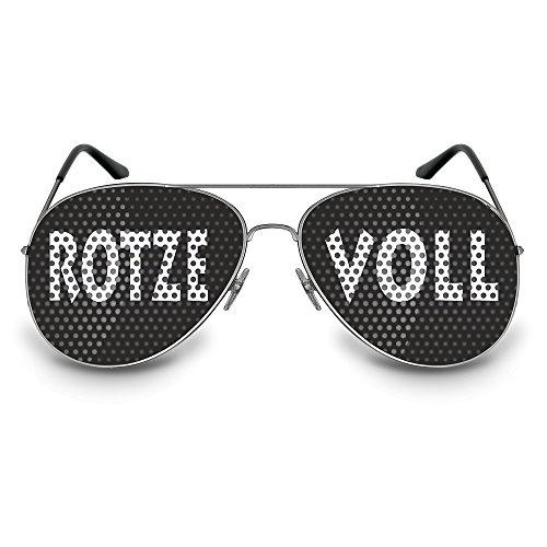 Coole Artikel Occhiali da sole con scritta in lingua tedesca, divertente accessorio con diversi motivi o scritte, Motiv: RotzeVoll / Pilot, Taglia unica