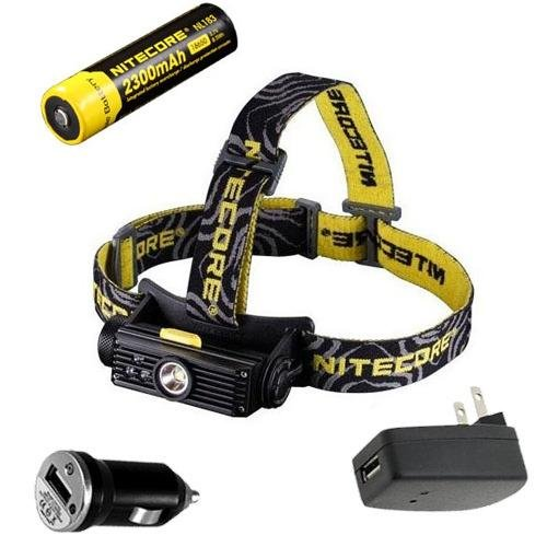 Combo: Nitecore HC90 Rechargeable XM-L2 LED Headlamp w/NL183 2300mAh Rechargeable Battery & USB Car & Wall Adaptors (Powered Car Amp)