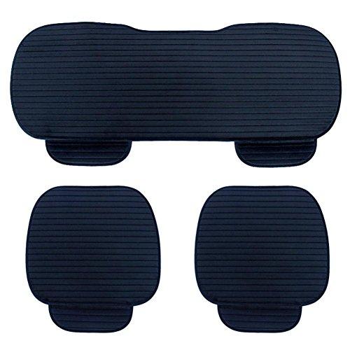 NACHEN Auto Sitzkissen 3 stücke Universal Car Interior Sitzbezug Matte Alle Jahreszeiten für Auto Auto Liefert Auto Stuhl Pad, Black - Kuh-stuhl