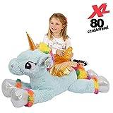 Bakaji toys Peluche Unicorno Gigante XL Altezza 80 cm Morbidissimo Pupazzo Bambini Ragazzi Cavallo Extra Large Morbido Idea Regalo (Azzurro)